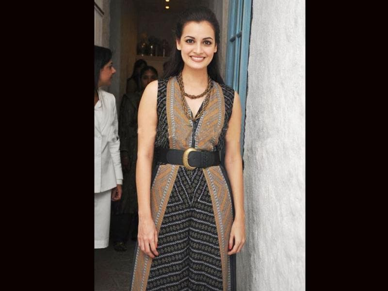 Dia Mirza looks excited.