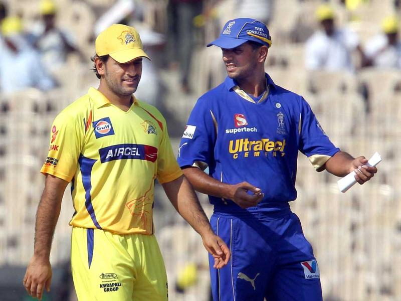 Rajasthan Royals' Rahul Dravid and Chennai Super Kings MS Dhoni during the IPL-5 match at MAC stadium in Chennai. (PTI Photo/R Senthil Kumar)