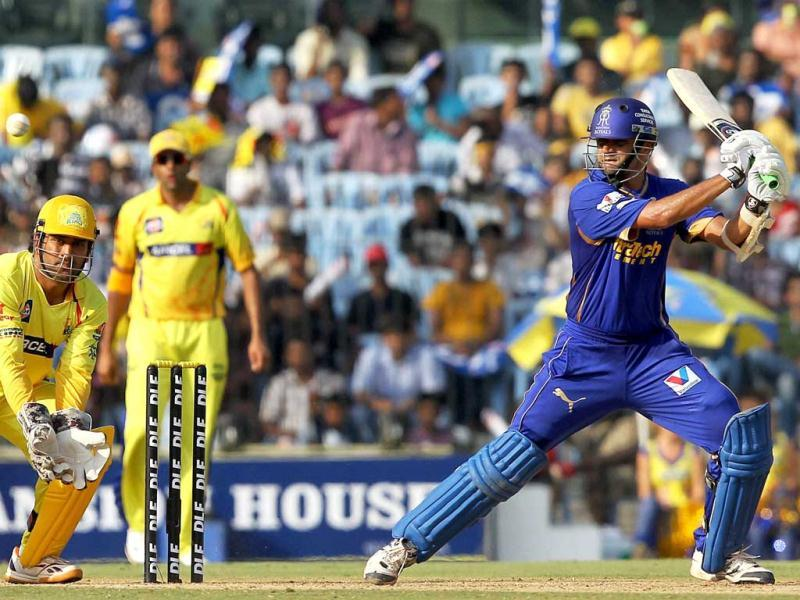 Rajasthan Royals' Rahul Dravid plays a shot during the IPL-5 match against Chennai Super Kings in Chennai. (PTI Photo/R Senthil Kumar)