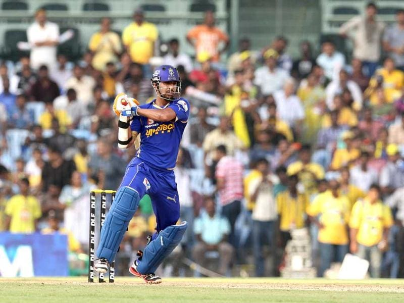 Rajasthan Royals batsman Ashok Menaria plays a shot during the match between Chennai Super Kings and Rajasthan Royals in Chennai. (AFP Photo/Seshadri Sukumar)