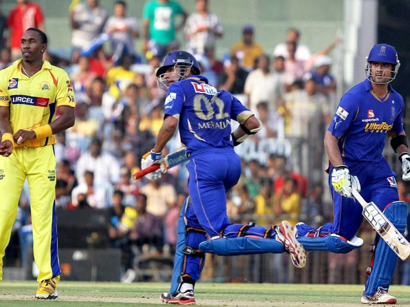 Rajasthan Royals' Owais Shah and Ashok Menaria during the IPL match in Chennai. (PTI Photo/R Senthil Kumar)