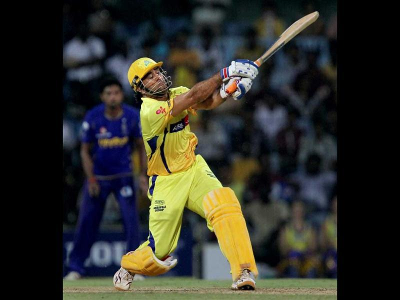 Chennai Super Kings' MS Dhoni plays a shot during the IPL-5 match against Rajasthan Royals at MAC stadium in Chennai. (PTI Photo/R Senthil Kumar)