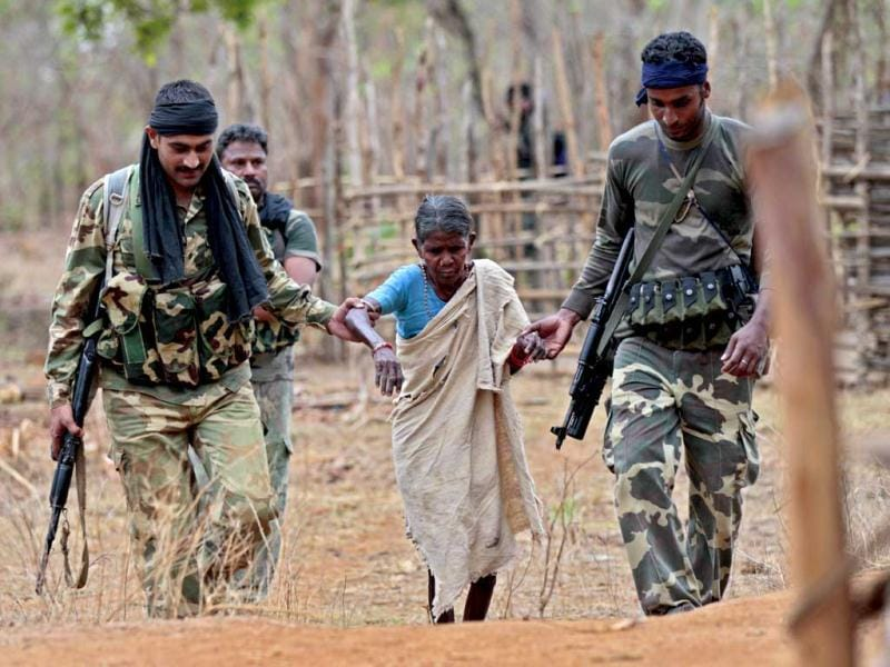 Despite every effort to help tribals, paramilitary forces face their hostiliy and non-cooperation. HT Photo/Ajay Aggarwal