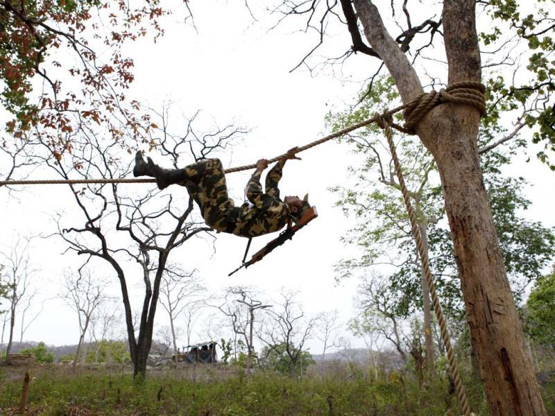 Back breaking physical training is not enough for the jawans for what they constantly battle are metal problems like depression, frustration. HT Photo/Ajay Aggarwal