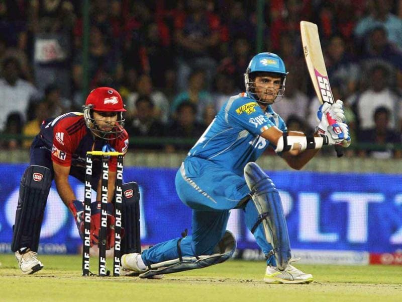 Pune Warriors Sourav Ganguly plays a shot during IPL 5 match between Delhi Daredevils and Pune Warrios at Ferozshah Kotla in New Delhi. (HT Photo/Vipin Kumar)