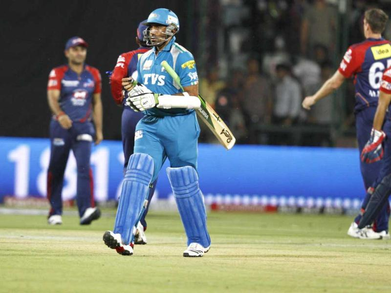 Pune Warrior Robin Uthappa out during the IPL match against Delhi Daredevils at the Ferozshah Kotla in New Delhi. (HT Photo/Sunil Sax)
