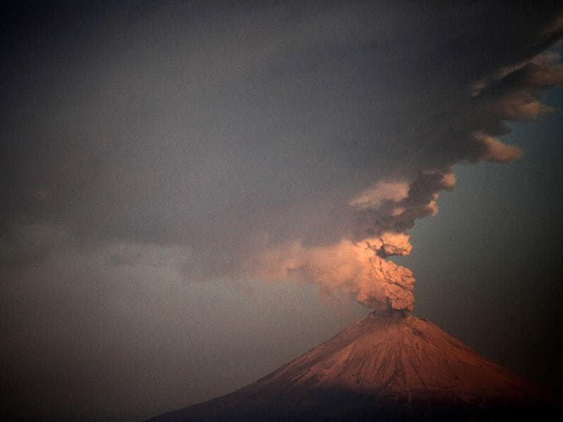 Ash and smoke are spewed from Popocatepetl Volcano as seen from the city of Puebla, in the Mexican central state of Puebla. AFP Photo/Jose Castañares
