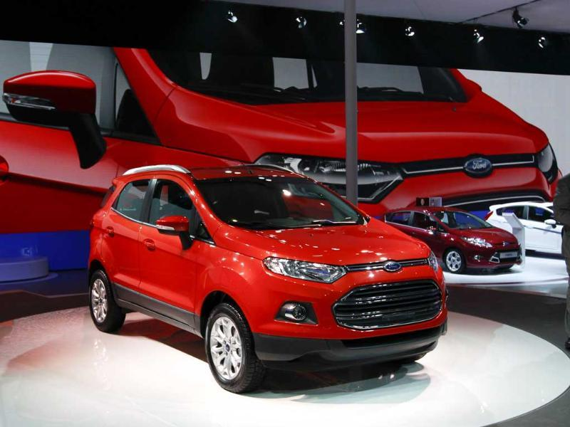 The new Ford ECO Sport is displayed at the Beijing International Auto Exhibition in China. AP Photo/Vincent Thian
