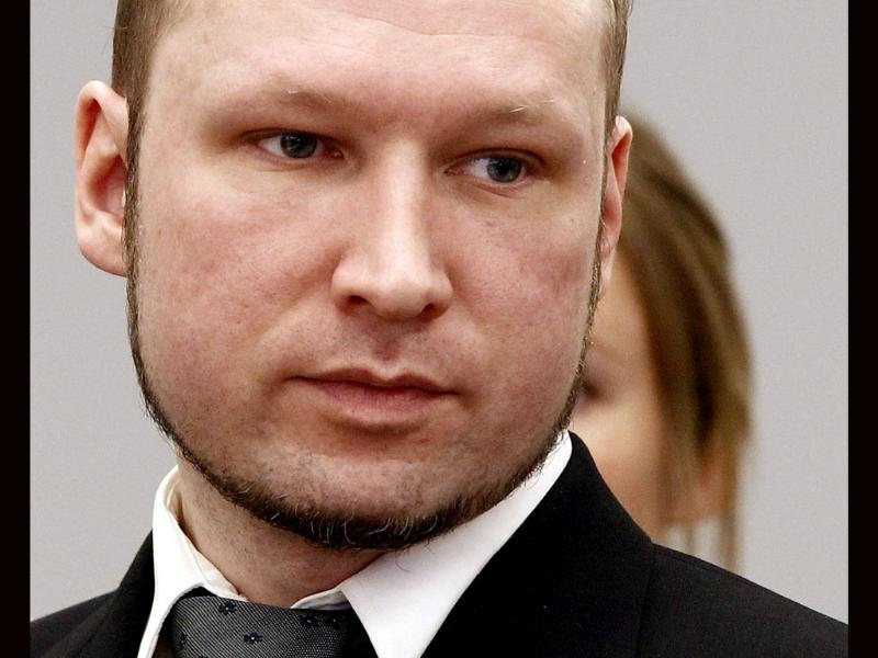 Terror and murder charged Anders Behring Breivik during the morning break of day 6 of the trial in Oslo. AFP Photo: Lise Aserud/Pool