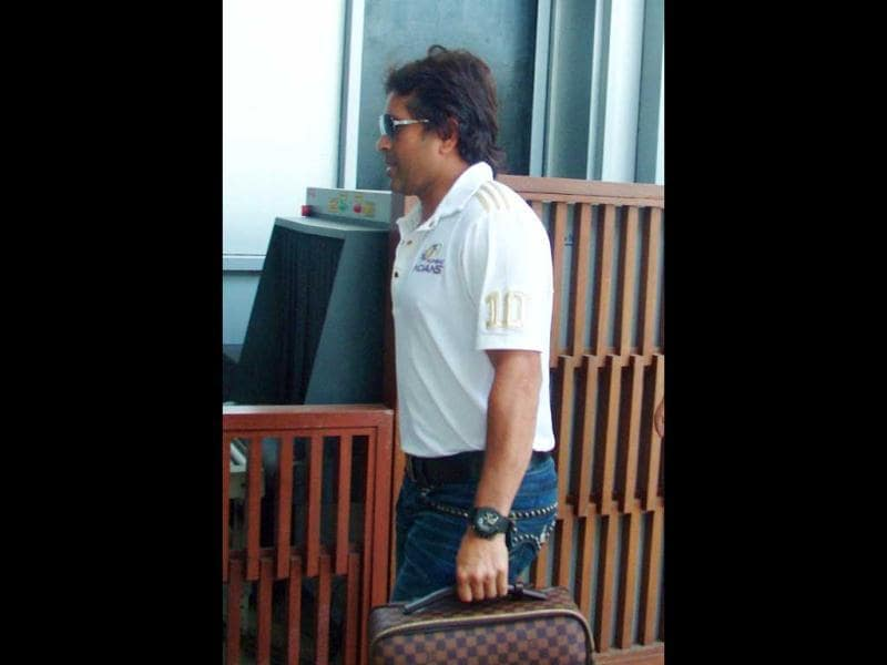 Mumbai Indians' Sachin Tendulkar arrives in Chandigarh.