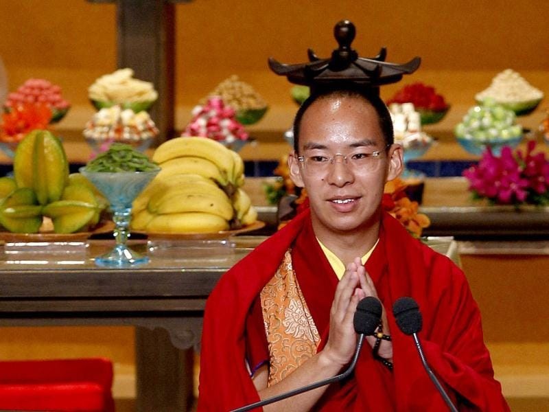 Gyaltsen Norbu, the Chinese government-appointed 11th Panchen Lama, speaks during an opening ceremony of the 3rd World Buddhist Forum in Hong Kong. (AP Photo/Kin Cheung)
