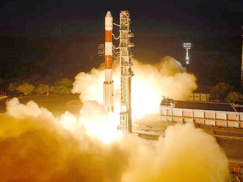 PSLV-C19 carrying India's First Radar Imaging Satellite (RISAT-1) lifts-off from Satish Space Centre, in Sriharikota. (Agencies)