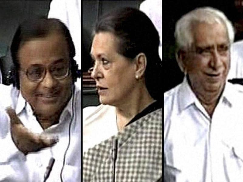 A combo picture of home minister P Chidambaram, Sonia Gandhi and BJP MP Jaswant Singh in the Lok Sabha in New Delhi. PTI Photo