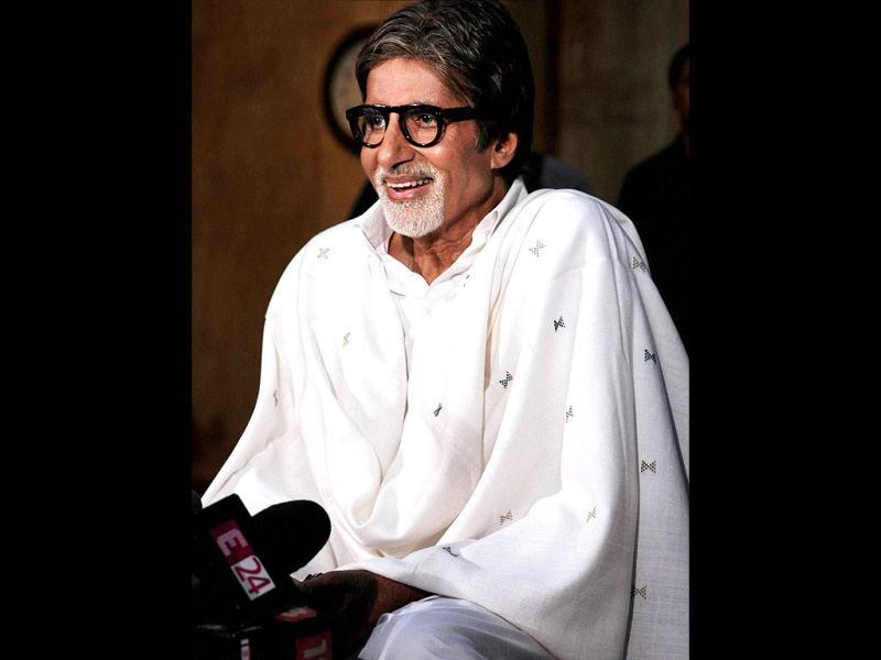 Amitabh Bachchan interacts with the media during a press conference at his residence in Mumbai on April 25. The megastar expressed happiness over his name being cleared in the 25-year-old Bofors scandal. (PTI Photo)