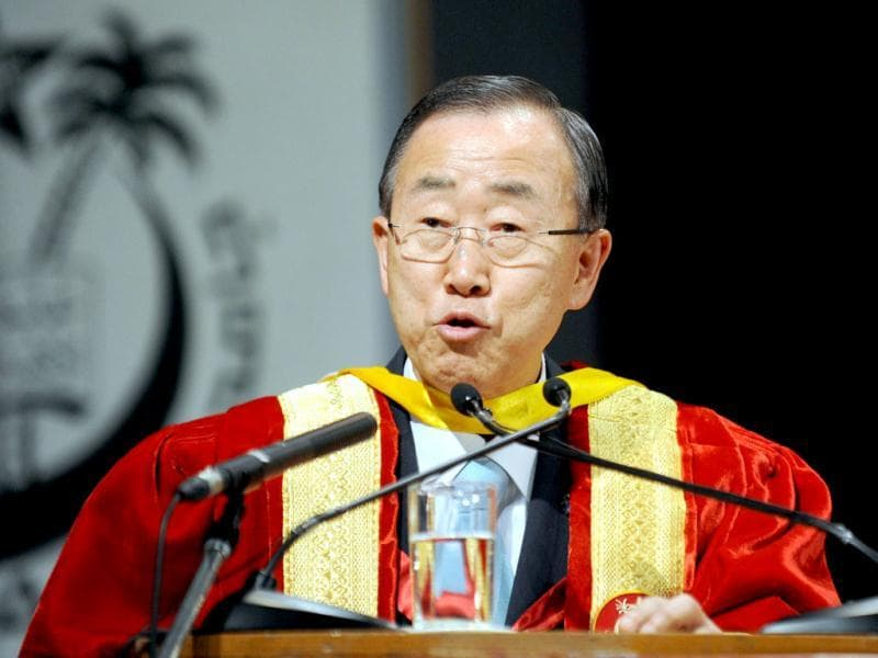 Ban Ki-moon delivers his address after receiving the honourary Doctor of Letters (Honoris Causa) at Jamia Millia Islamia University in New Delhi. AFP/Raveendran