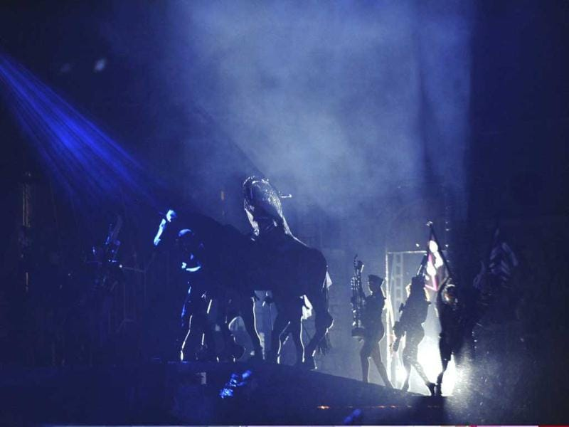 US pop star Lady Gaga on a horse performs during her concert in Seoul, South Korea. AP/Hyundai Card