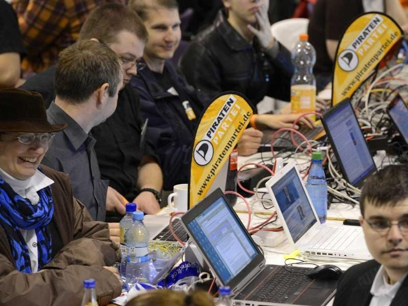 elegates of Germany's Pirate Party (Piraten Partei) use their laptops at their party convention in Neumuenster. Reuters/Fabian Bimmer