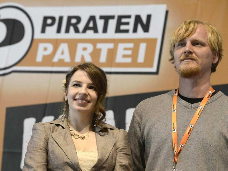 Marina Weisband (L), political secretary of Germany's Pirate Party (Piraten Partei), and secretary general Wilm Schumacher listen to a speech at their party convention in Neumuenster April 28, 2012. Reuters/Fabian Bimmer