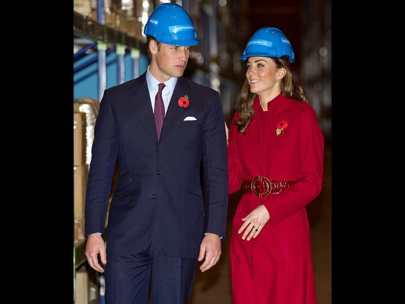 Britain's Prince William (L) and Catherine, Duchess of Cambridge visit the UNICEF emergency supply centre in Copenhagen, Denmark. (Reuters/Arthur Edwards/POOL)