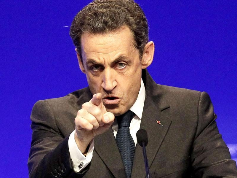 France's President and candidate for re-election in 2012, Nicolas Sarkozy, gestures as he delivers a speech during a campaign meeting in Cournon-d'Auvergne, central France. (AP Photo)