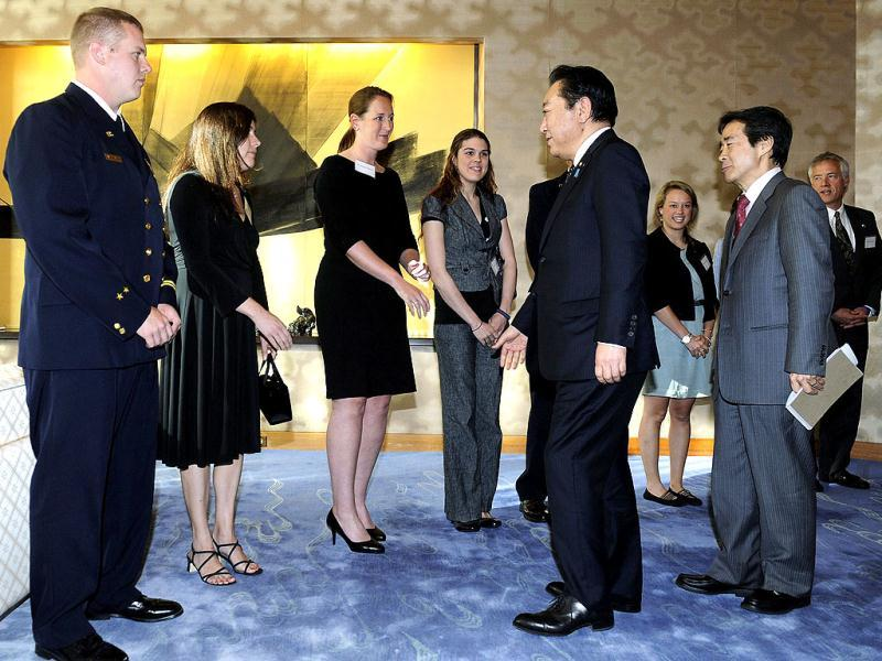 Japan's Prime Minister Yoshihiko Noda arrives for a private reception to thank US volunteers who helped during last year's tsunami and a US family whose daughter died in the tsunami, at the Japanese ambassador's residence in Washington. (Reuters)