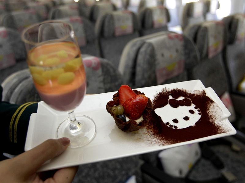 A Hello Kitty-themed in-flight dessert set is displayed inside an Eva Airlines aircraft in Taoyuan International Airport, northern Taiwan. Reuters photo/Pichi Chuang