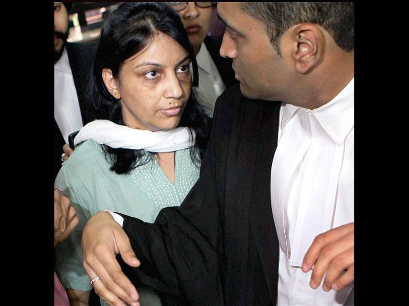 Nupur Talwar is seen in this file photo at the Supreme Court in New Delhi. PTI/Manvender Vashist