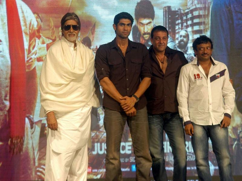 Bollywood actors Amitabh Bachchan, Sanjay Dutt and Rana Daggubati with director Ram Gopal Verma during the press conference of Department (UNI)