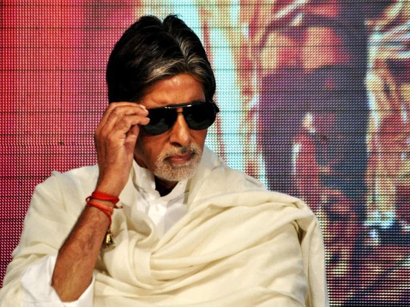 Amitabh Bachchan looks very much like his character in Department at a press conference.