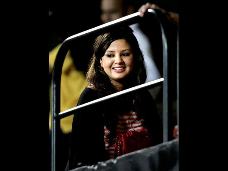 Chennai Super Kings captain MS Dhoni's wife Sakshi watches the IPL5 match against Kolkata Knight Riders at MAC Stadium in Chennai. PTI/R Senthil Kumar
