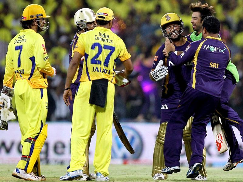 Kolkata Knight Riders players celebrate after winning the IPL5 match against Chennai Super Kings in Chennai. PTI/R Senthil Kumar