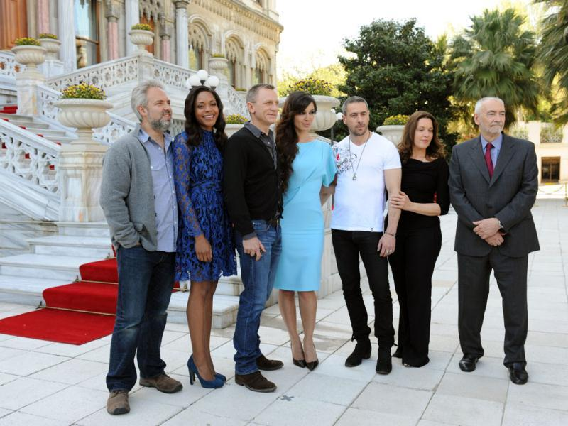 The cast and crew of Skyfall poses at the photocall.