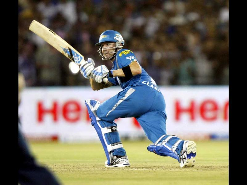 Michael Clarke of Pune Warriors in action against Deccan Chargers in their IPL5 match at Barbati Stadium, Cuttack. HT/Subhendu Ghosh