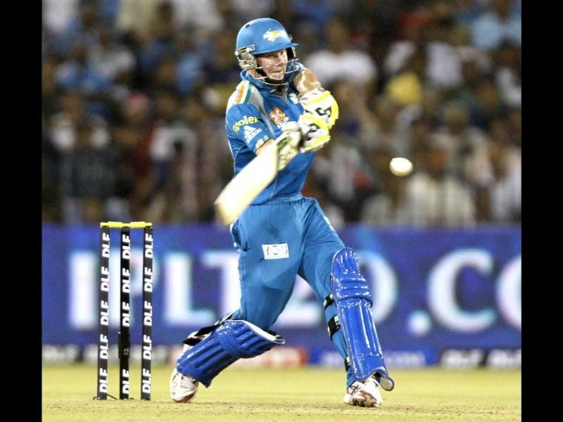 Steven Smith of Pune Warriors in action against Deccan Chargers in their IPL5 match at Barbati Stadium, Cuttack. HT/Subhendu Ghosh