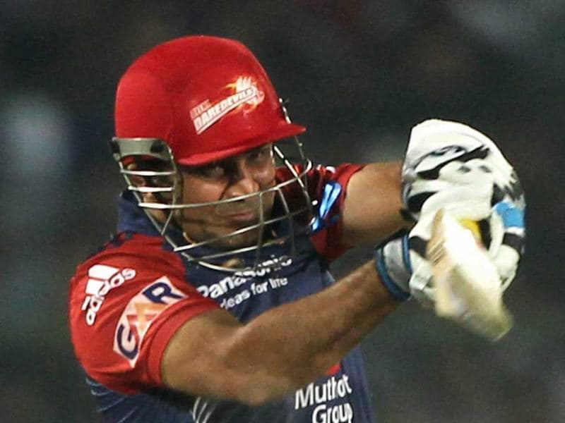 Delhi Daredevils' Virender Sehwag plays a shot against Rajasthan Royals during their IPL-5 match in Jaipur. PTI/Aman Sharma