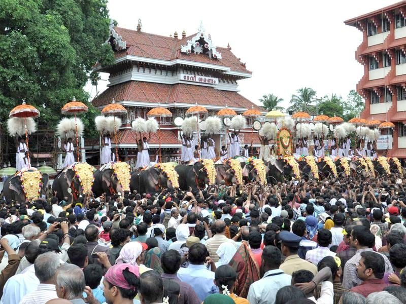 People gathered for 'Pooram Ezhunnallipu' in front of Parmekkavu Temple as part of the famous Thrissur Pooram festival in Thrissur, Kerala.