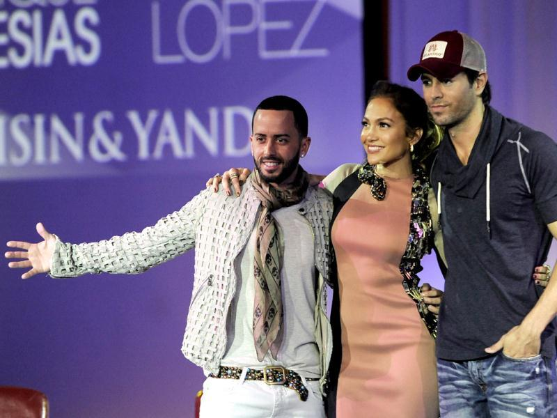 Jennifer Lopez, Enrique Iglesias and Wisin y Yandel (L) will be touring together this summer.