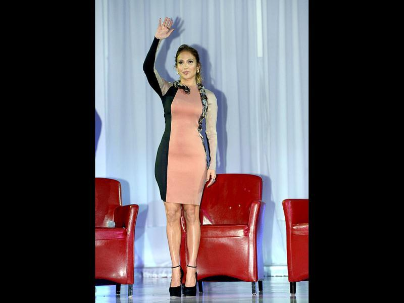 Jennifer Lopez waves to her fans.