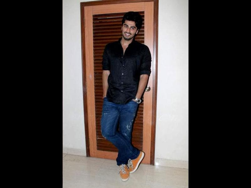 Arjun Kapoor strikes a pose for lensmen.