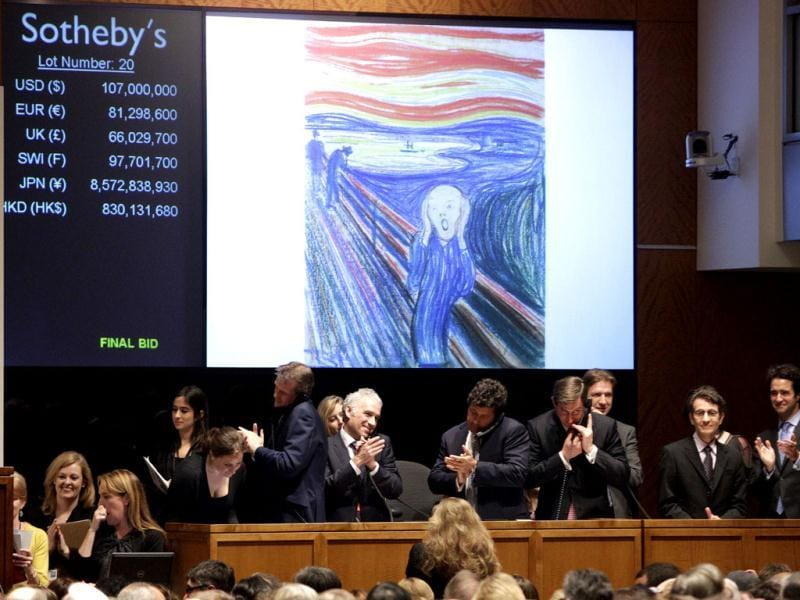 Edvard Munch's The Scream is auctioned at Sotheby's in New York. AP Photo/Frank Franklin II