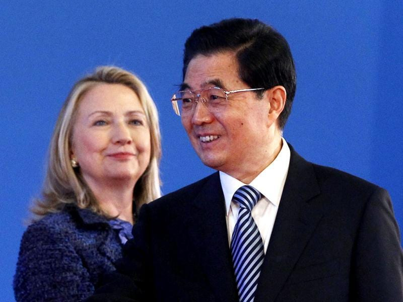 US secretary of state Hillary Rodham Clinton looks at Chinese President Hu Jintao smile during the opening ceremony of the US- China Strategic and Economic Dialogue at the Diaoyutai state guesthouse in Beijing. AP Photo/Shannon Stapleton, Pool