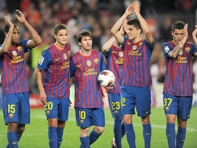 Clutching the match ball and with a typically shy expression on his face, Messi was congratulated by his team mates as he strolled off the pitch at the end. (Text: Reuters, Photo: AFP)