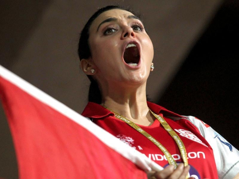Preity Zinta cheers for her team during the IPL 5 match.