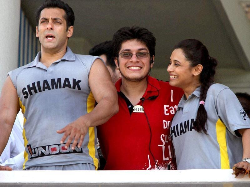 Rani Mukherjee and Salman Khan with Aamir Khan's son Junaid Khan during a charity match between celebrities and a team of physically challenged persons to raise funds for prosthetic legs for them, in Mumbai on May 1. (PTI Photo)