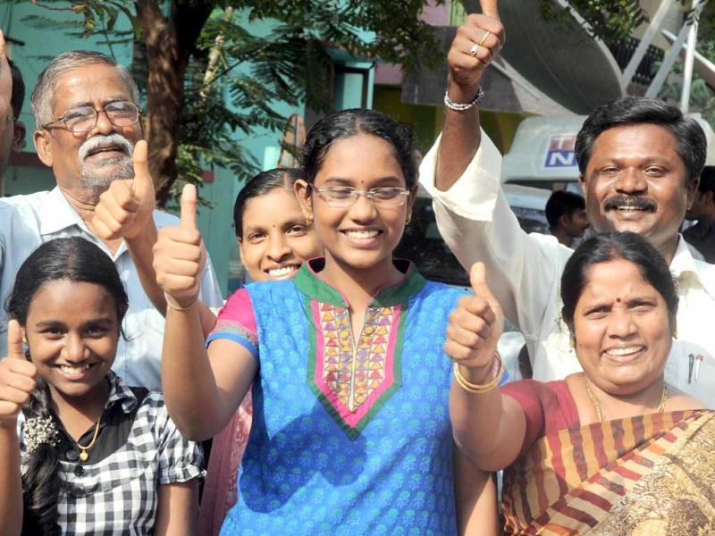 Jubilant family members of Sukma district collector Alex Paul Menon after hearing about his release by Maoists in Chennai. UNI
