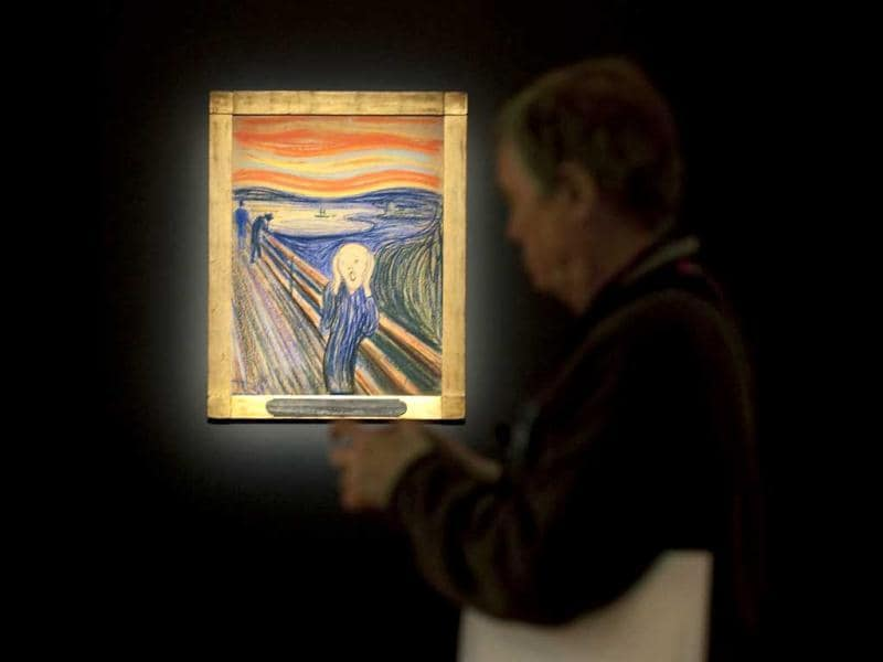 Edvard Munch's 'The Scream' is seen during a press preview for Sotheby's Masters Auction in New York. AFP/Stephen Chernin/Files