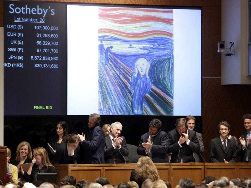 Edvard Munch's 'The Scream' is auctioned at Sotheby's in New York. The image is one of four versions created by the Norwegian expressionist painter. AP/Frank Frank