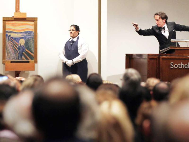 Edvard Munch's 'The Scream' is auctioned at Sotheby's May 2012 Sales of Impressionist, Modern and Contemporary Art in New York City. The masterpiece is one of four versions created by Munch and the only one that is privately owned. Mario Tama/Getty Images