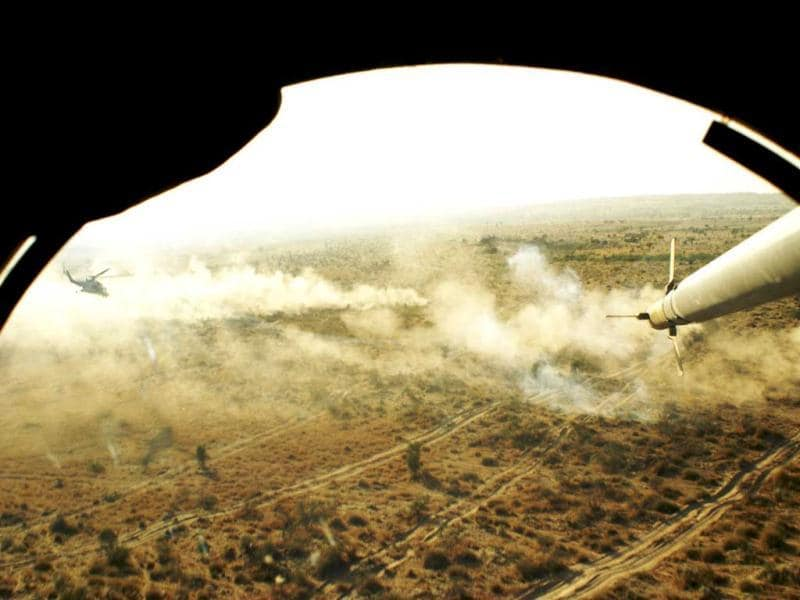 This handout photograph released by the ministry of defence shows a view from the gunner's cockpit of an Indian Air Force Mi-35 attack helicopter during the Shoor Veer military exercise. AFP/Ministry of defence