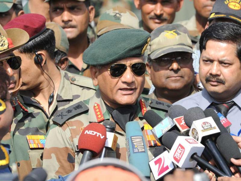 Indian Army Chief General VK Singh talks to journalists as he reviews the Shoor Veer military exercise. AFP/Sam Panthaky